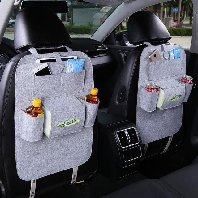 Sparkle Red Gray Multi-Pocket Car Backseat Organizer