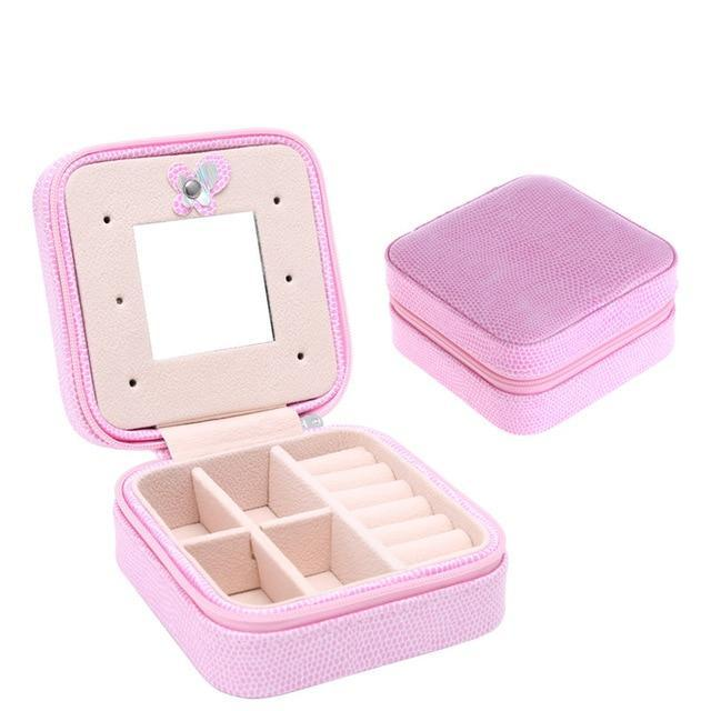 Sparkle Red Jewelry Packaging & Display Pink Red Travel Jewelry Box With Mirror 14:200003699