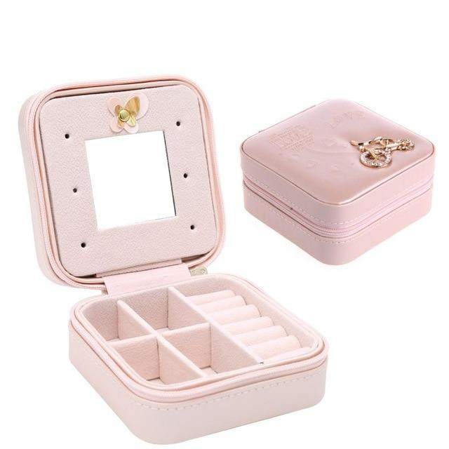 Sparkle Red Jewelry Packaging & Display Pink Travel Jewelry Box With Mirror 14:1052