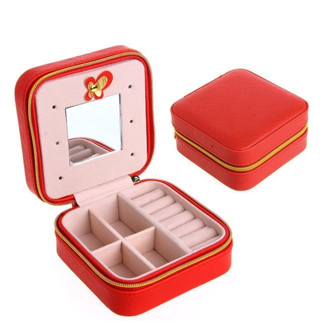Sparkle Red Jewelry Packaging & Display Red Travel Jewelry Box With Mirror 14:10