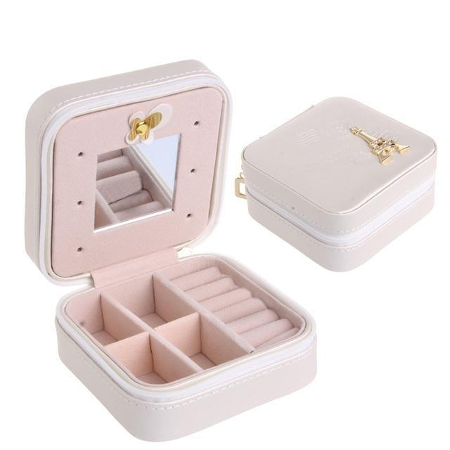Sparkle Red Jewelry Packaging & Display White Travel Jewelry Box With Mirror 14:29