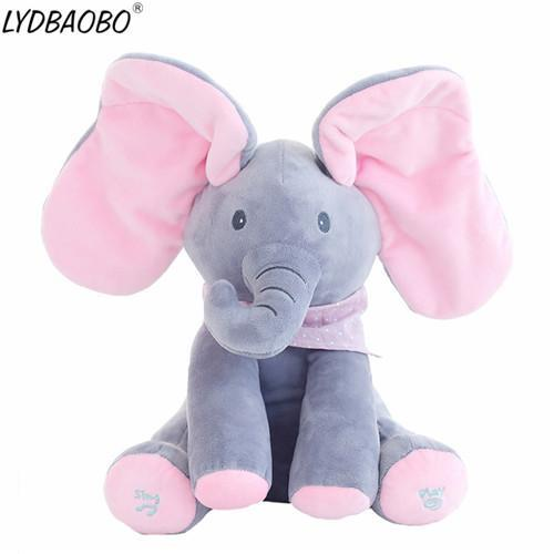 Sparkle Red Kids Pink and Gray Peek A Boo Elephant/Bear