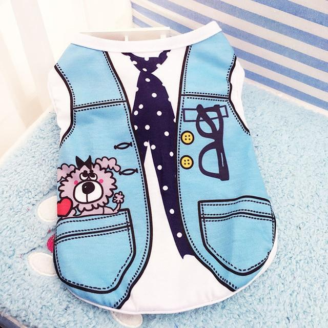 Sparkle Red Pets aqua blue / L Cartoon Print Dog Vest