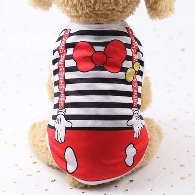 Sparkle Red Pets black strips / L Cartoon Print Dog Vest
