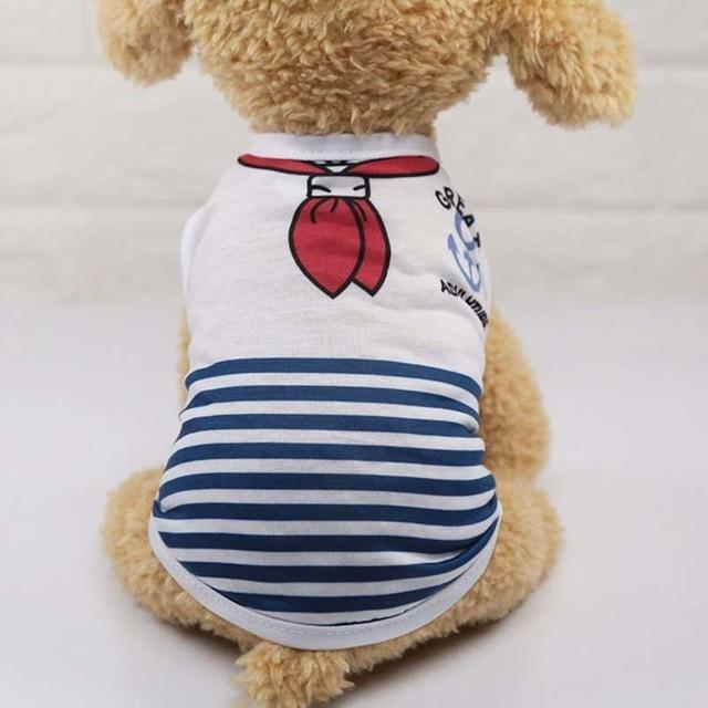Sparkle Red Pets blue stripes / L Cartoon Print Dog Vest