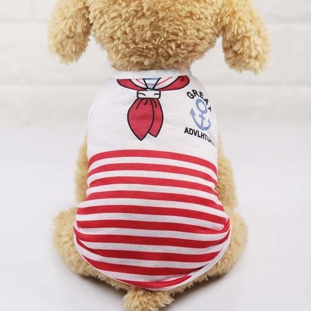 Sparkle Red Pets red stripes / L Cartoon Print Dog Vest