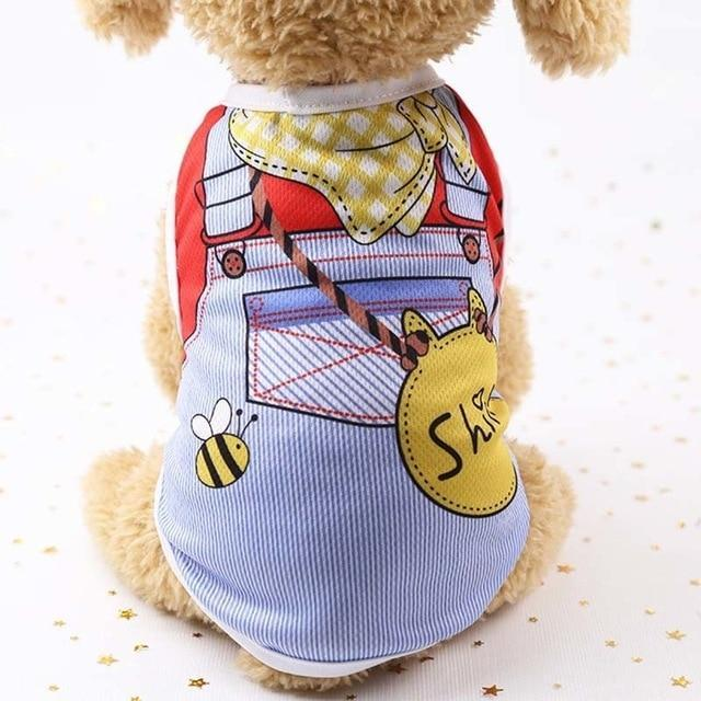 Sparkle Red Pets yellow scarf / L Cartoon Print Dog Vest