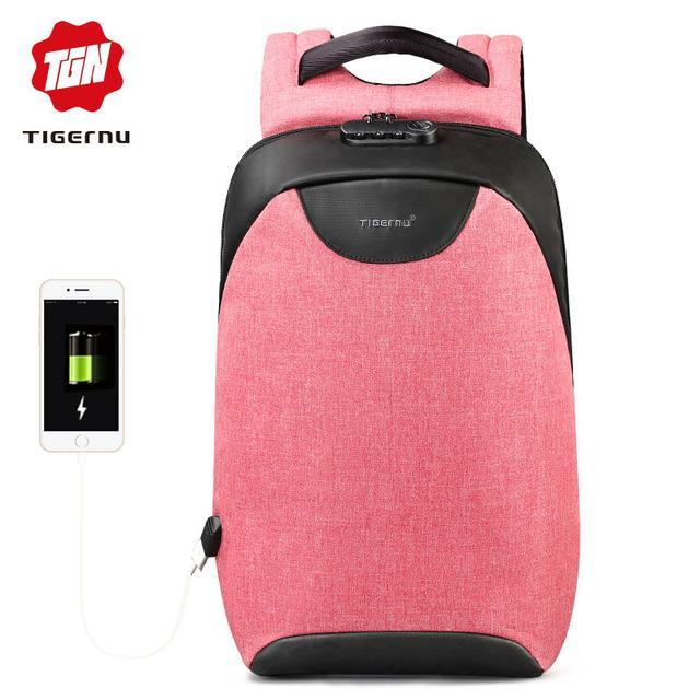 Sparkle Red Pink / China Water Resistant USB Charging Port Travel Backpack