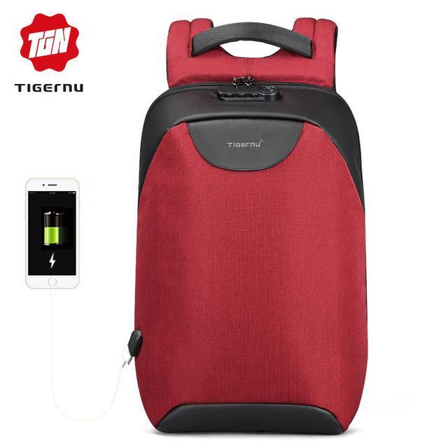Sparkle Red Red / China Water Resistant USB Charging Port Travel Backpack