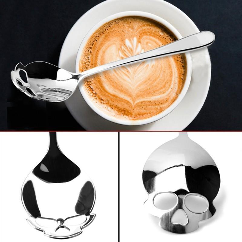 Sparkle Red Skull Shaped Stainless Coffee Spoon