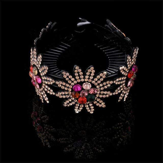 Sparkle Red Women's Hair Accessories 0431-A / Medium Rhinestone Flower Hairpin 14:203221806;5:361386