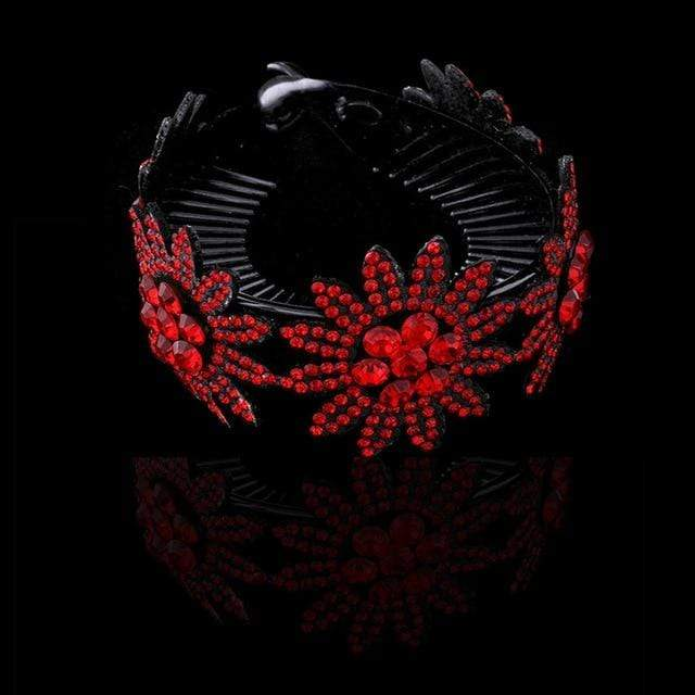 Sparkle Red Women's Hair Accessories 0431-C / Medium Rhinestone Flower Hairpin 14:203008818;5:361386