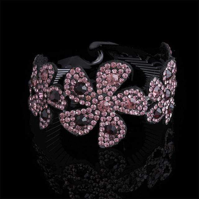 Sparkle Red Women's Hair Accessories 7240-D / Medium Rhinestone Flower Hairpin 14:203322812;5:361386