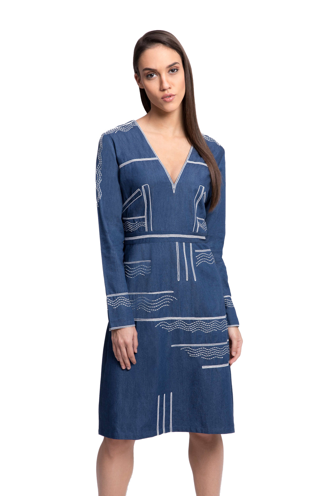 FRIDERICH Embroidered Denim Dress