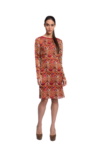 Indica Print Embroidered Dress