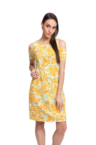 ABELIA Print Cold Shoulder Dress