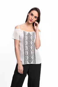 CLAVIFLORA Embroidered Top