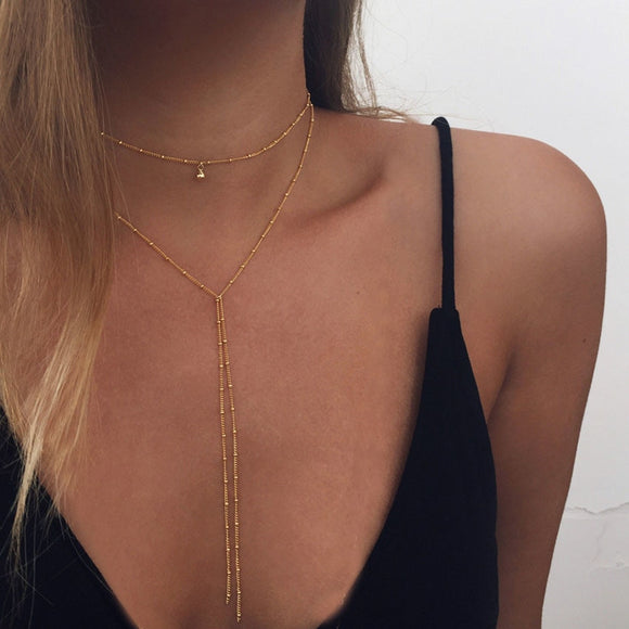 Chain Choker Necklace With Long Beads Tassel