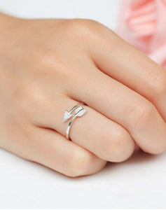 Silver Plated Arrow Crystal Ring
