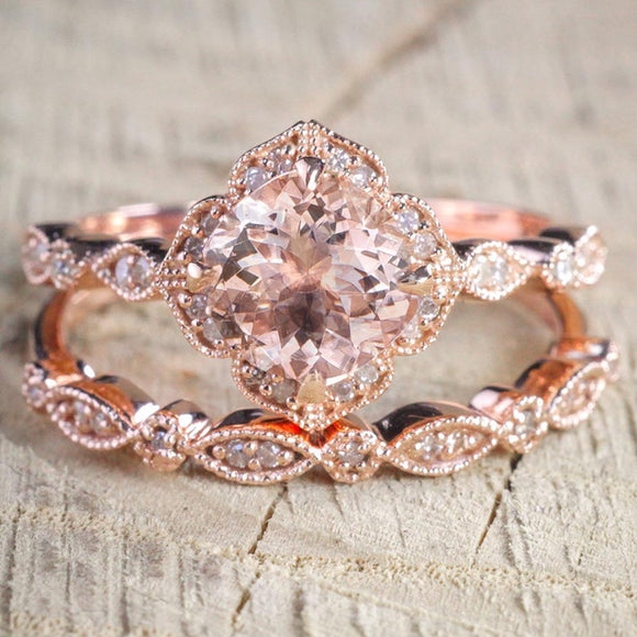 2 Pcs/Set  Rose Gold Crystal Ring