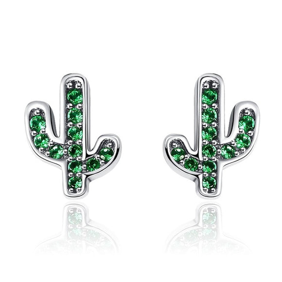 Dazzling Green And Silver Cactus Crystal Stud Earrings