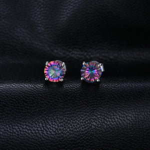Rainbow Mystic Topaz Stud Earrings