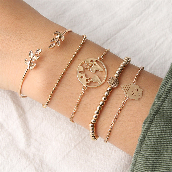 Bohemian Vintage Map Ocean Leaves Bracelet Set