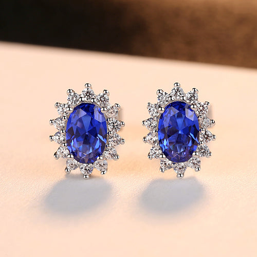 Blue Topaz Flower Shape Stud Earrings