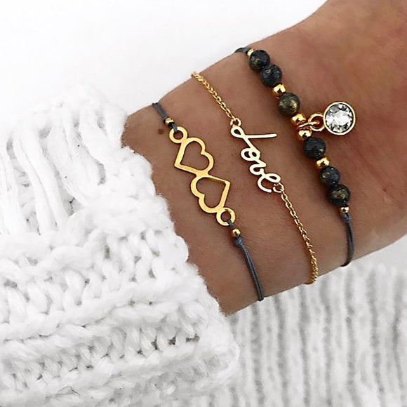 3 Pcs/ Set Gem Chain Leather Multi-layer Gold Bracelet