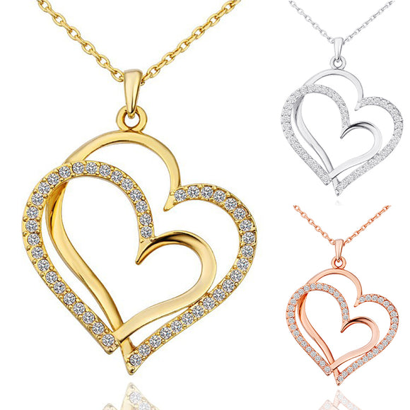 Double Heart  Valentines Necklaces