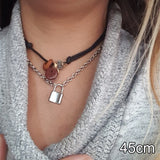 Stainless Steel Silver  PadLock  Necklace