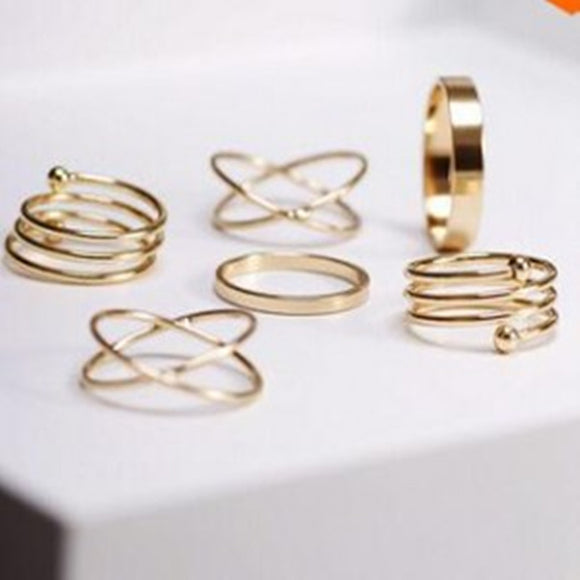 Hot 6 Pcs/ Unique Punk Ring Set