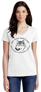 Shy Wolf Sanctuary Ladies V-Neck Shirts
