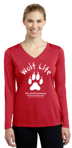 Wolf Life Ladies Dry-Fit V-Neck Long Sleeve Shirts