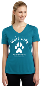Wolf Life Ladies V-Neck Dry-Fit Shirts