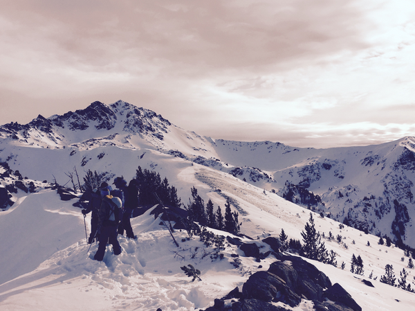 Backcountry skiers on Mt Cashmere, Washington