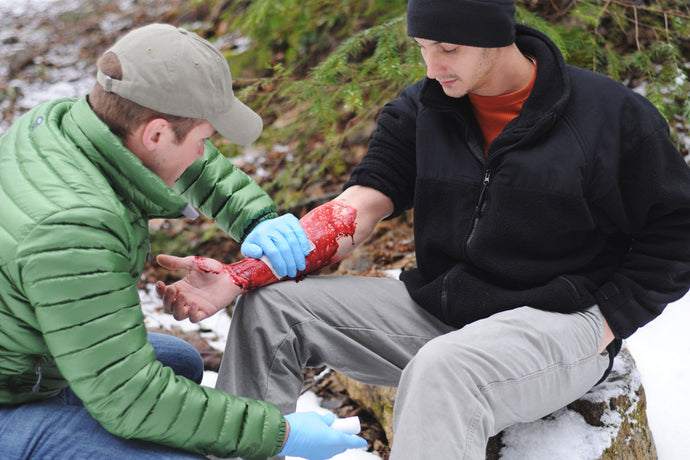 Wilderness First Aid Students learn skills like bleeding control and wound management