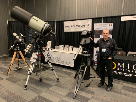 AstroMounts Booth and Mr. Mariotti from 10Micron