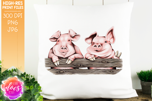 Cute Hand Drawn Pigs with Peace Hoof - Sublimation/Printable Design