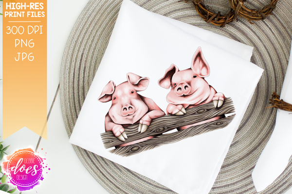 Cute Hand Drawn Pigs on Fence - Sublimation/Printable Design