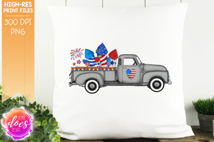 4th of July Truck - Grey - Sublimation/Printable Design