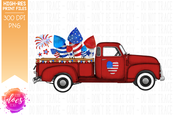 4th of July Truck - Red - Sublimation/Printable Design