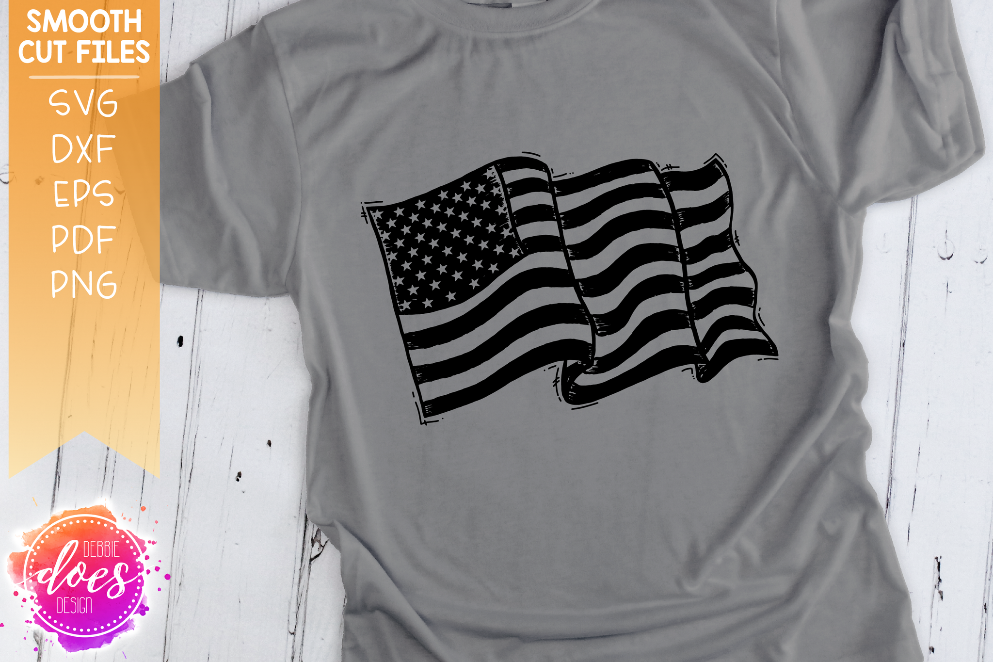 Hand Drawn Distressed American Flag - SVG File