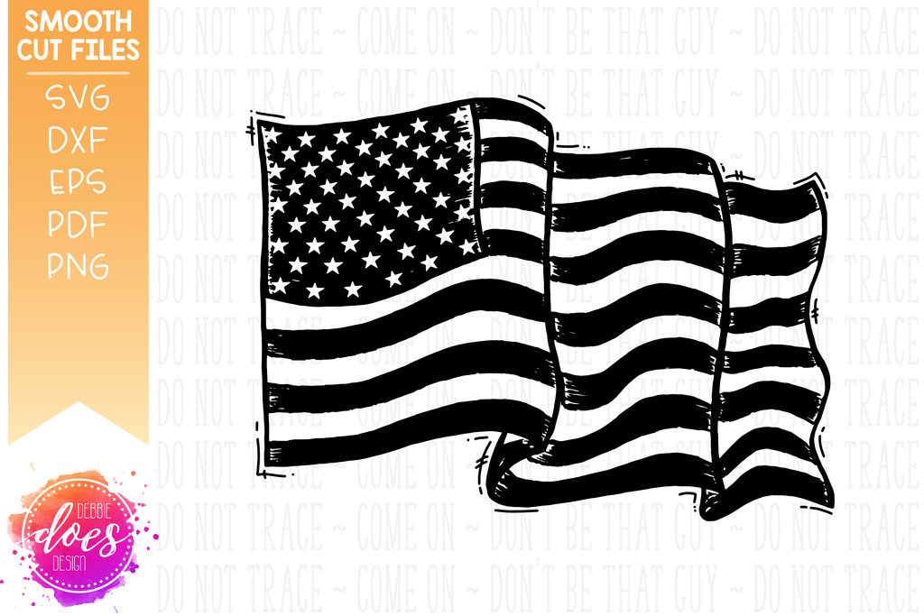 Hand Drawn Distressed American Flag Svg File Debbie Does Design