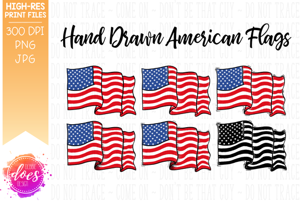 Hand Drawn American Flag (6 Pack) - Sublimation/Printable Design
