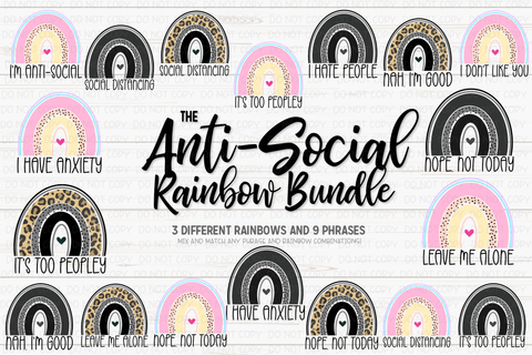 The Anti-Social Rainbow Bundle - Printable/Sublimation Files
