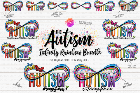 The Autism Infinity Rainbow & Butterflies Bundle - Includes 30 files! - Sublimation/Printable Design