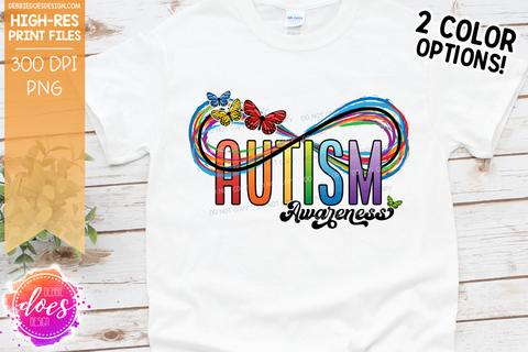 Awareness - Autism Infinity Rainbow & Butterflies - 2 Colors! - Sublimation/Printable Design