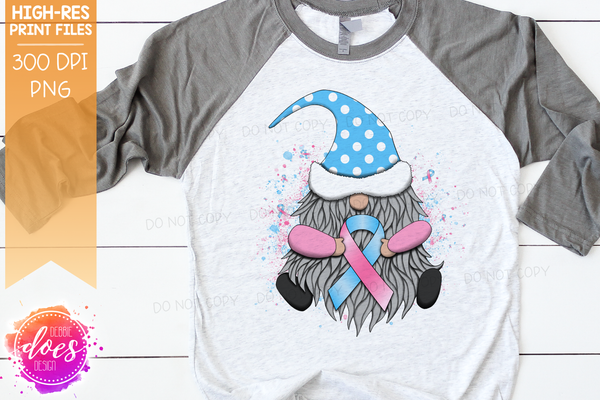 Awareness Ribbon Gnome - Baby Pink/Baby Blue - Sublimation/Printable Design