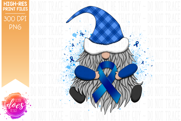 Awareness Ribbon Gnome - Blue - Sublimation/Printable Design